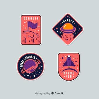 Симпатичные красочные космические наклейки