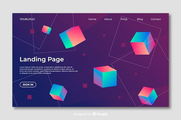 幾何学的図形のランディングページ