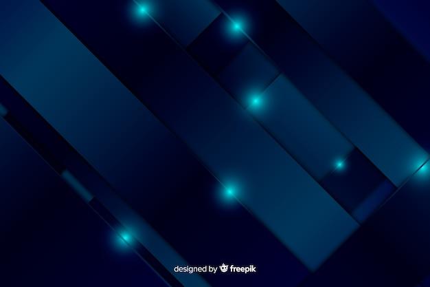 青いライトと抽象的なメタリックブルーの背景