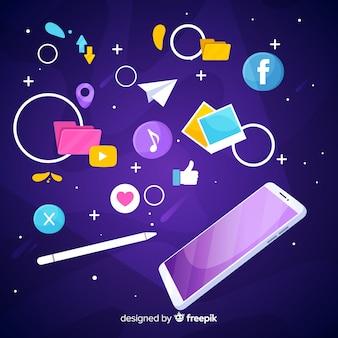 Антигравитационный мобильный телефон с иконками