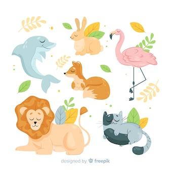 フラットなデザインの漫画の動物のパック