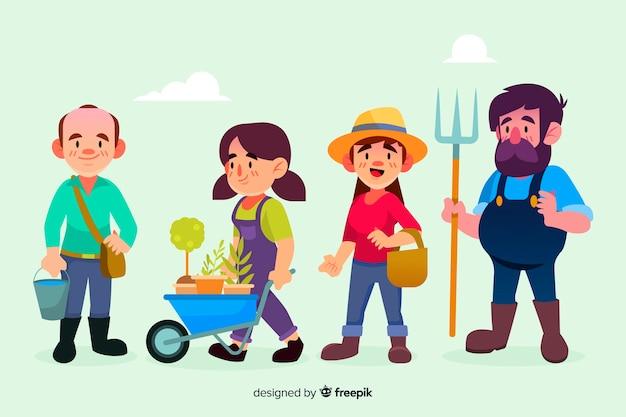 図解フラットデザインの農業労働者のセット