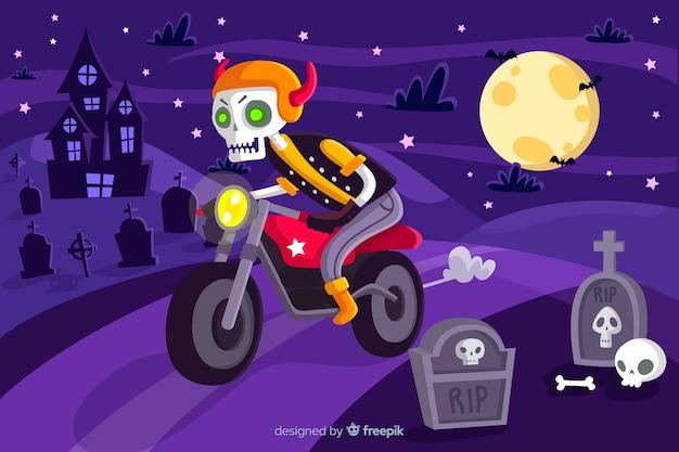 Хэллоуин фон с плоским дизайном