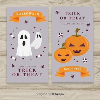 Плоский дизайн баннеров хэллоуина