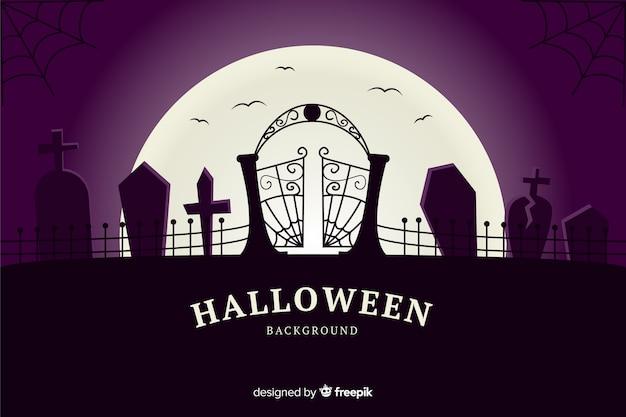 Кладбище хэллоуин фон в плоском дизайне
