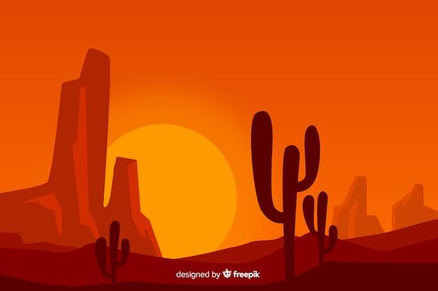 Пустынный пейзаж с кактусом и солнцем