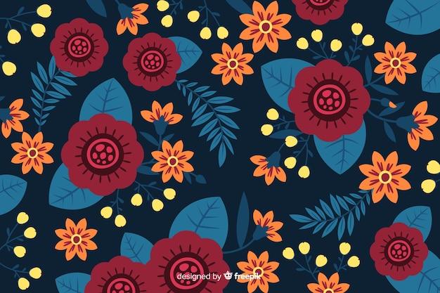 フラットな美しい花柄のデザイン