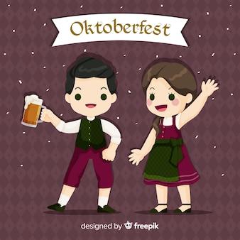 Люди с плоским дизайном празднуют октоберфест