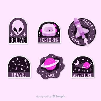 Современная фиолетовая коллекция космических стикеров