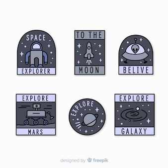 Современная коллекция серых космических стикеров