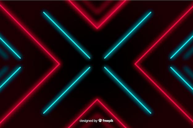 赤いライトの背景を持つ幾何学的設計