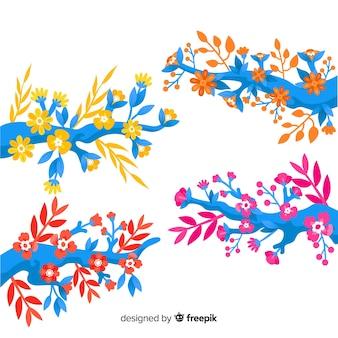 Плоские красочные цветочные ветви с теплыми цветами