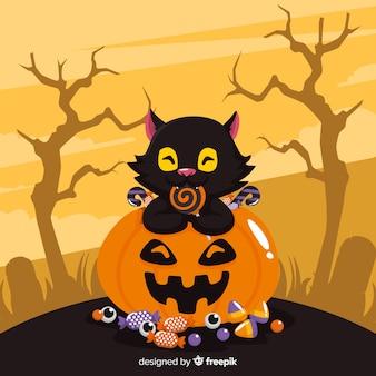 ロリポップを食べるカボチャの素敵な黒い猫