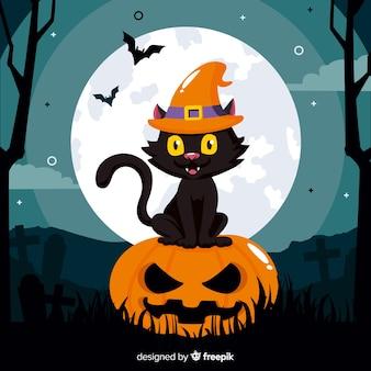 カボチャの上に座ってかわいい黒猫