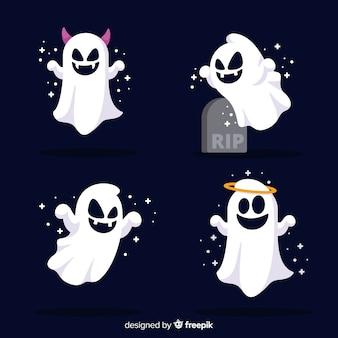 Симпатичная коллекция призраков хэллоуина с плоским дизайном