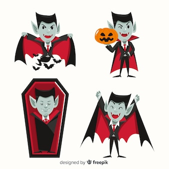 Плоский дизайн коллекции персонажей дракулы-вампира