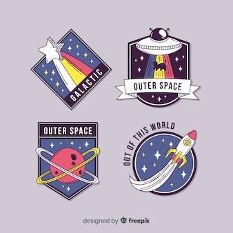 Набор милых иллюстрированных космических стикеров