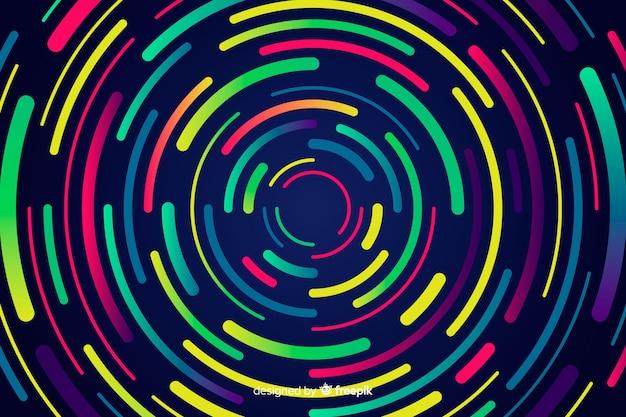 幾何学的なネオン円の背景