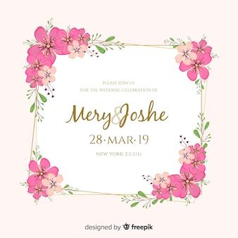フラットなデザインで花のフレームの結婚式の招待