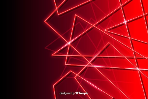 赤いライトの背景を持つ幾何学的なスタイル