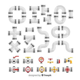 フラットなデザインの金属パイプラインコレクション