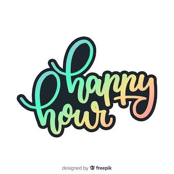 Красочный счастливый час надписи