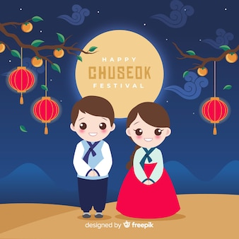 Плоский дизайн чусок традиционного ханбок
