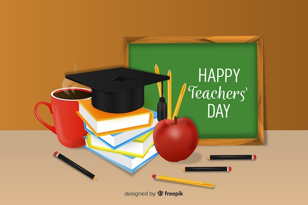 День учителя с реалистичным фоном