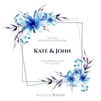 青い水彩花のフレームの結婚式の招待状