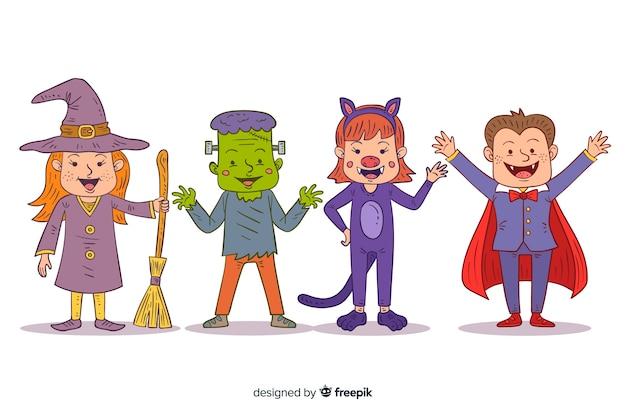 Нарисованная от руки коллекция детских костюмов на хэллоуин