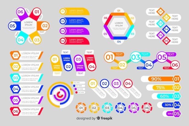 フラットなデザインのインフォグラフィック要素のコレクション