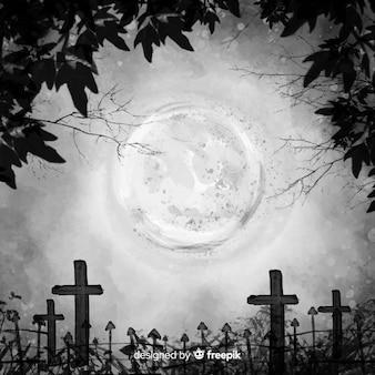 満月の水彩ハロウィーンの背景