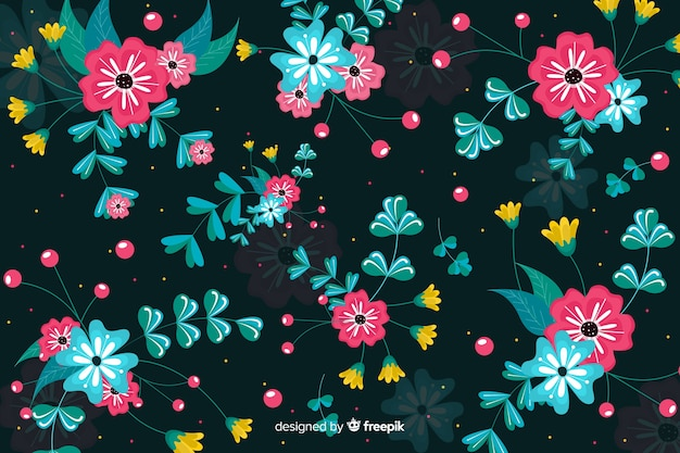 平らな芸術的な花の背景