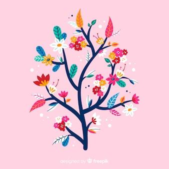 ピンクの背景にフラットカラフルな花の枝