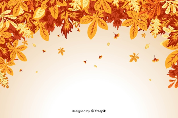 秋の葉の背景のフラットなデザイン