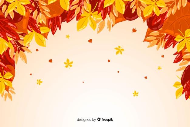 秋の葉のフラットなデザインの背景