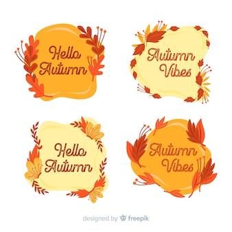 秋のラベルコレクションのフラットなデザイン