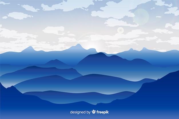 青のグラデーション山の風景の背景