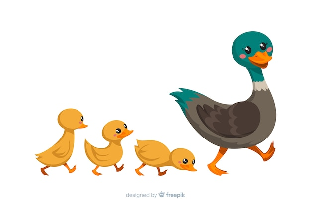 平らな母鴨と彼女の雛
