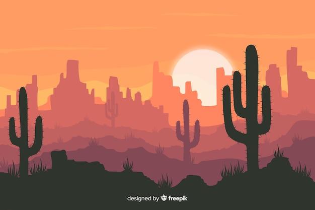 Пустынный пейзаж с кактусом