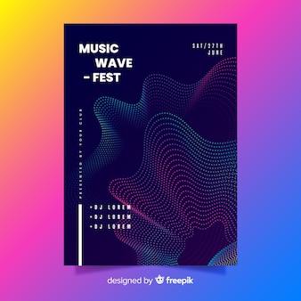 抽象的な波音楽ポスターテンプレート