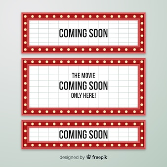 フラットなデザインのビンテージ劇場標識コレクション