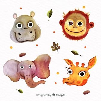 Плоский дизайн набор милых животных