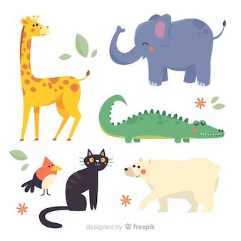 Плоский дизайн иллюстрированный набор милых животных
