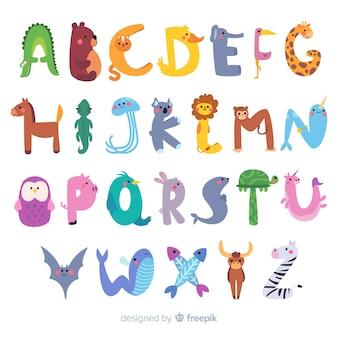 Плоский дизайн животных алфавит