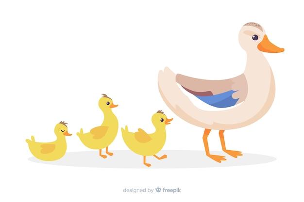 フラットなデザインの母鴨と水で一緒に彼女のひな