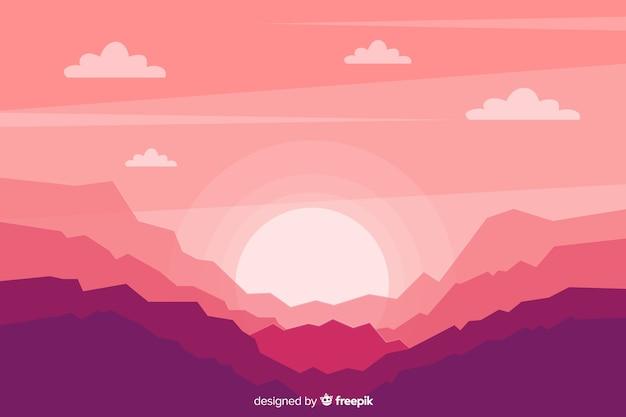 日の出背景山の風景