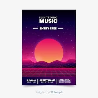 レトロな未来的な音楽ポスターテンプレート