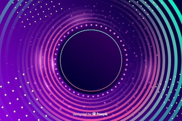 カラフルなライトとドットのある円