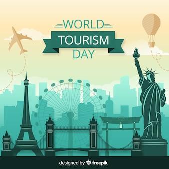 Плоский дизайн день туризма с достопримечательностями